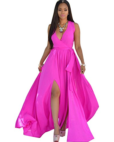 BIUBIU Women's Boho V neck Summer Chiffon Beach Maxi Dress Slit Style #7 Rose 2XL