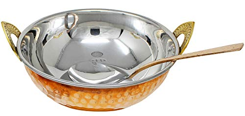 Copper Stainless Steel 34 OZ Serving Bowl with Spoon for Noodles, Salad, Cereal, Rice, Pasta, Fruit, Handmade Hammered Style Heat Insulated Double Walled Multipurpose Bowl, 7.1 Inch
