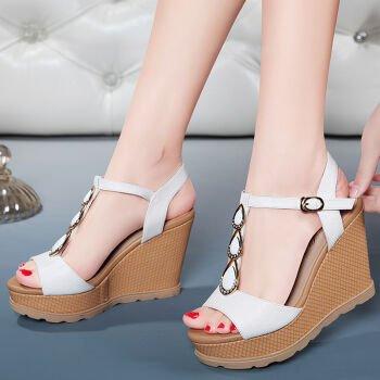 GTVERNH-Die Keile Sandalen Sommer Sandalen Weiblich Flachen Dicken Freizeit Freizeit Freizeit Schuhe Sexy Wasser Stein Wasserdicht e78268