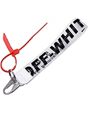 Fashion Keychain, Rubber Industrial Belt Keychain Office Badge Lanyard Key Chain Wristlet Keychain (White)