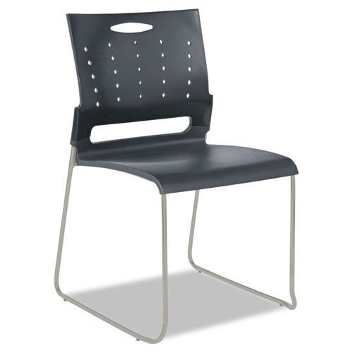 Continental Series Alera (Alera ALESC6546 Alera Continental Series Perforated Back Stacking Chairs, Charcoal Gray, 4/ct)
