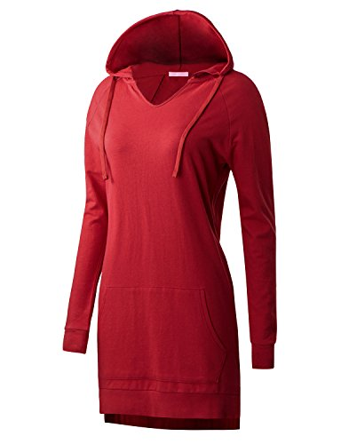 Regna X Love Coated Womens Long Sleeve Raglan Crewneck Hoodie Dress Red S by Regna X (Image #2)
