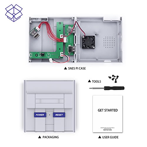 SNES Raspberry Pi Case for Pi 3, 2 and B+ with Front facing USB ports , Functional POWER and RESET Button and Cooling Fan by BassTop by BASSTOP (Image #7)