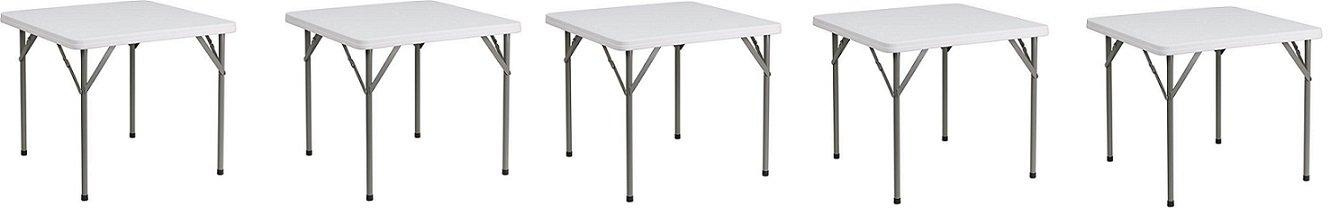 Flash Furniture 34'' Square Granite White Plastic Folding Table (5-Pack)
