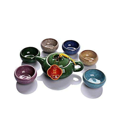 (Dehua Porcelain Ice Crack Glaze Ceramic Kung Fu Tea Set Tea Service- Teapot and Six Colors Tea Cups (green))