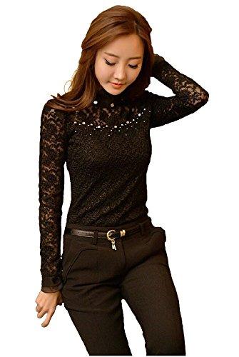 bf1fd2ff3747f Women s designer party wear tops blouse Shirt Autumn Rhinestone long sleeve  stylish lace blouse