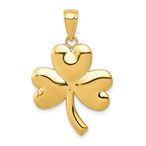14k Yellow Gold Shamrock Pendant Charm Necklace Celtic Claddagh Fine Jewelry Gifts For Women For Her