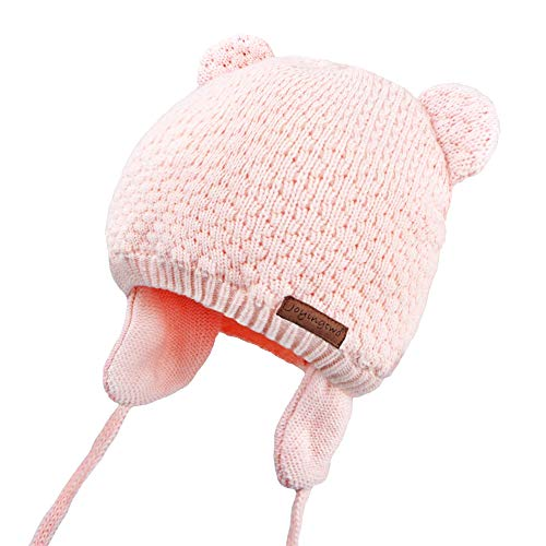 Joyingtwo Soft Warm Knit Wool Cute Bear Baby/Infant/Toddler Beanie Hat with Earflap for Winter/Autumn, Pink S