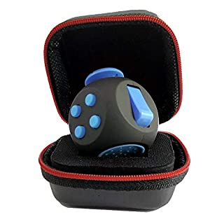 PILPOC theFube Fidget Cube - Premium Quality Fidget Cube Ball with Exclusive Protective Case, Stress Relief Toy (Black & Blue)