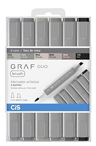 Marcador Artístico 2 Pontas, CiS, Graf Duo Brush, 60.8900, 6 Cores, Tons Cinza