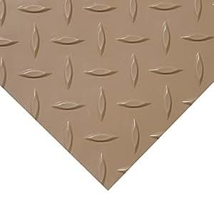 Rubber-Cal Diamond Plate Metallic PVC Flooring, Beige, 2.5mm x 4' x 4'