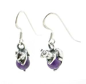 Sterling Silver FERRET Mink on Amethyst Charm Earrings