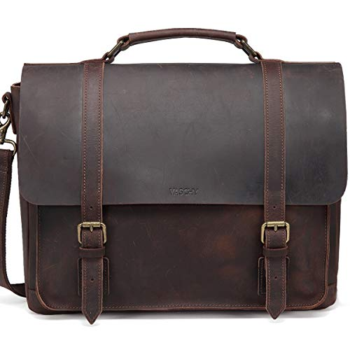 (Leather Messenger Bag for Men,VASCHY Handmade Distressed Leather Vintage Satchel 15.6 inch Laptop Business Briefcase Shoulder Bag with Detachable Strap)