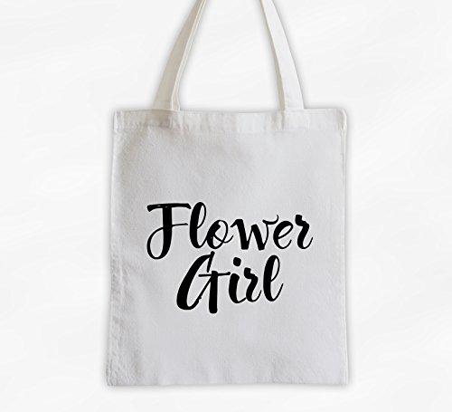 Flower Girl Cotton Canvas Tote Bag - Brush Script Bridal Party Attendants Gift (3001-FG) ()