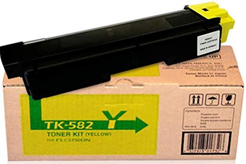 Kyocera 1T02KTAUS0 Model TK-582Y Yellow Toner Kit for FS-C5150DN/P6021CDN; Genuine Kyocera; Up to 2800 Pages Yield, Includes Waste Toner Container