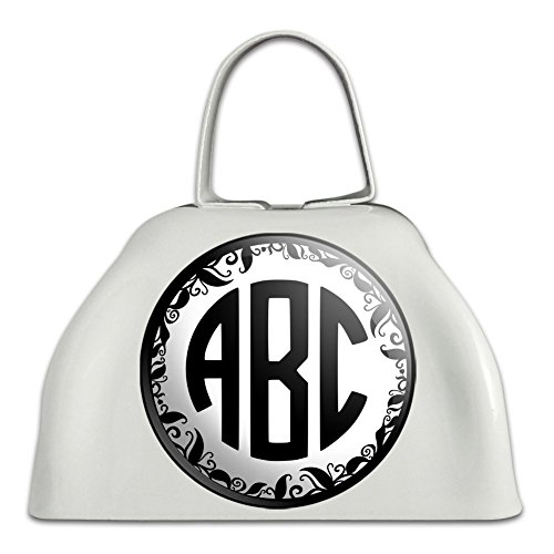 Graphics and More Personalized Custom White Cowbell Cow Bell - Monogram Circle Font Vine Outline