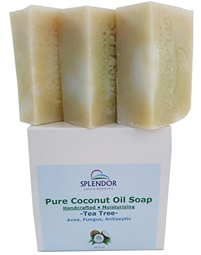 Tea Tree (10.5 oz) Pure Coconut Oil Soap with ORGANIC SPIRULINA. Handmade, Vegan, All Natural, Moisturizing, With AAA+ Therapeutic-Grade Australian Essential Oil