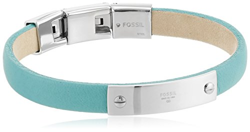 """Fossil """"Leather"""" Silver-Tone Plaque Thin Identification Bracelet, 8.5"""""""