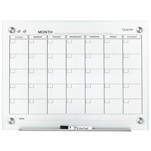 Quartet Calendar Glass Dry Erase Board, Magnetic, 4 x 3 Feet, White Surface, Frameless Whiteboard / White Board, Infinity (GC4836F) by Quartet