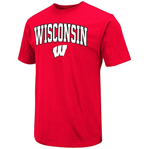 Colosseum Men's NCAA 100% Cotton T-Shirt-Red-Wisconsin (Wisconsin Badgers Soft Football)