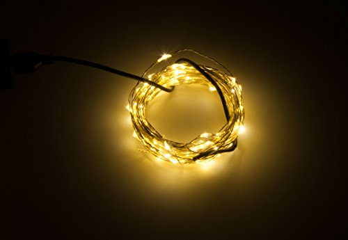 Karlling USB Plug in LED Fairy Lights,100 LED Bulbs 33 Ft Silver Wire Waterproof Starry String Lights for Bedroom Patio Garden Party Wedding Commercial Lighting (Warm White)