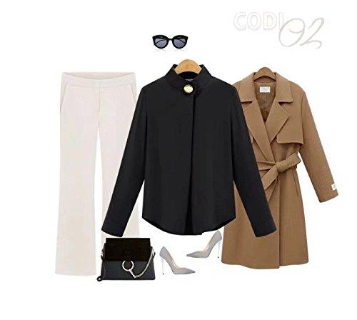 Noir Blouse Longues Casual Lache Soie Femmes ClairSue T Manches de en Mousseline Shirt 1qW6TZwx