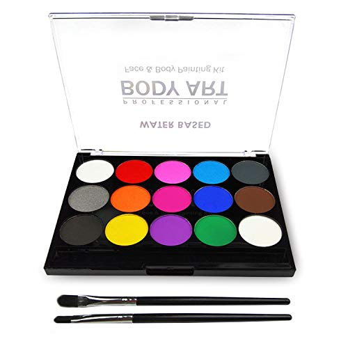 Face Paint Kit for Kids, Professional Quality Face & Body Paint, Hypoallergenic Safe & Non-Toxic, Easy to Painting and Washing, Ideal for Halloween Party Face Painting, 15 Colors with Two Brush]()