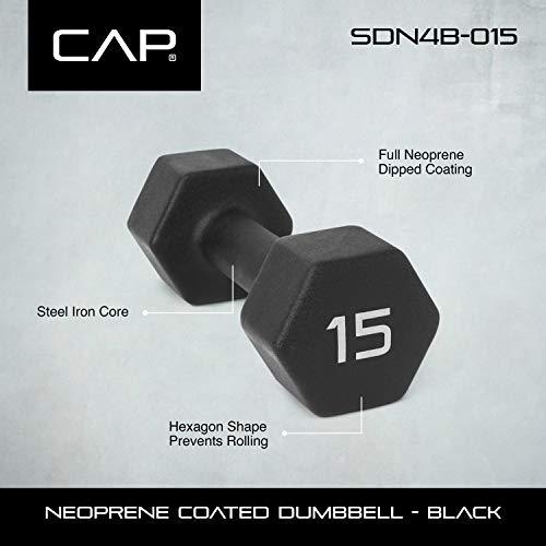 CAP Barbell SDN4BP-15 Neoprene Coated Dumbbell (Pair), Black, 15 lb. by CAP Barbell (Image #2)