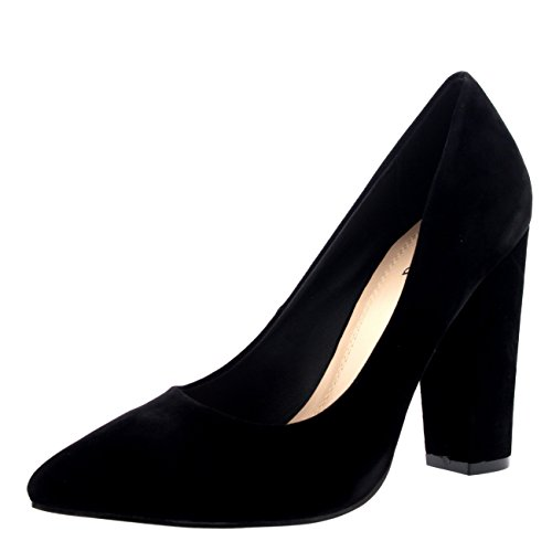 Womens Party Office Shoes Work Pointed Toe Court Shoes Evening Pumps - Black - US8/EU39 - KL0109