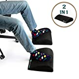 Foot Rest Cushion Under Desk–by ComZone, for Home & Office Use, High Density Non-Slip Durable Foam, Perfect Ergonomic Design, Great Feet Support, Help to Relief Back and Knee Pain, Extra Length 2 in 1