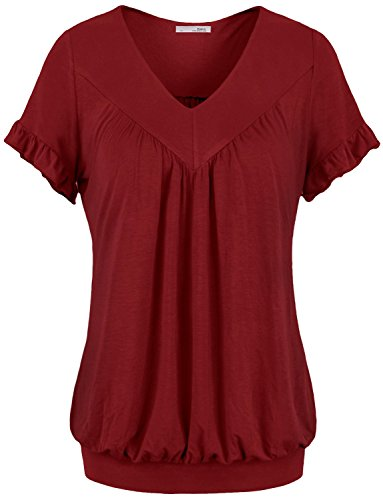 Messic Womens V Neck Short Sleeve Draped Patchwork Knitted Tunic Blouse Top – Medium, 64#Wine