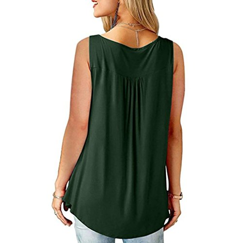 Shirt Lache Casual Y Zipper Mode Tops vert Cou Tefamore Blouse Tops Femmes Manches V T sans xnYqg0qwa