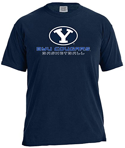 NCAA Byu Cougars Basketball Energy Short Sleeve Comfort Color Tee, Medium,TrueNavy