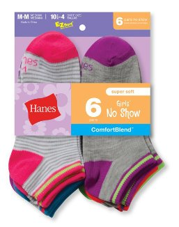 Hanes Girls Fashion ComfortBlend No Show Socks