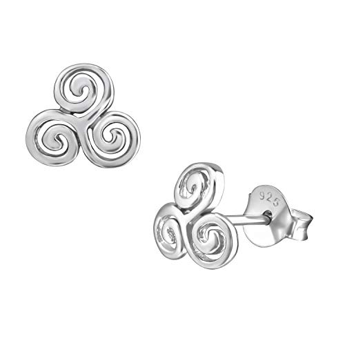 8mm 925 Sterling Silver Celtic Swirl Triskelion Triple Spiral Studs Earrings Womens ()