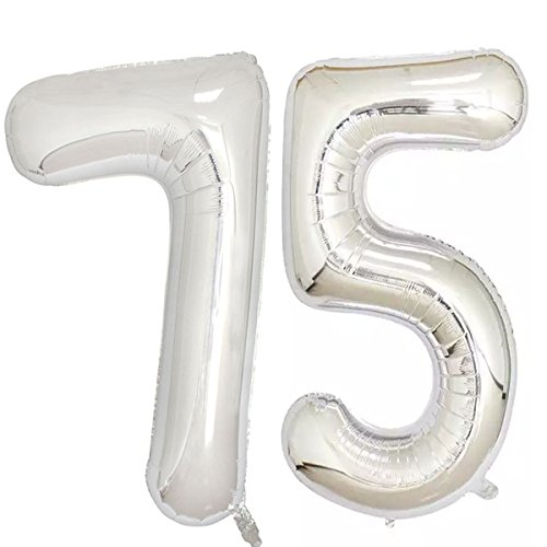40inch Silver Foil 75 Helium Jumbo Digital Number Balloons, 75th Birthday Decoration for Women or Men, 75 Birthday Party Supplies -