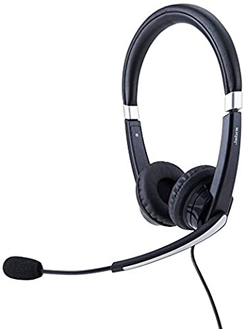 Jabra UC VOICE 550 MS Duo Lync Optimized Corded Headset for Softphone (Usb Headset Noise Cancelling)