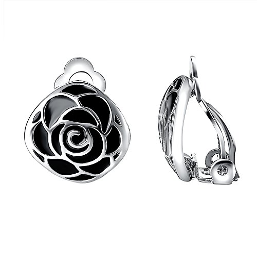 Yoursfs Clip Earrings for Women Non Piercing Ears Balck Enamel Flower Clip Earrings - Clip Earrings Black