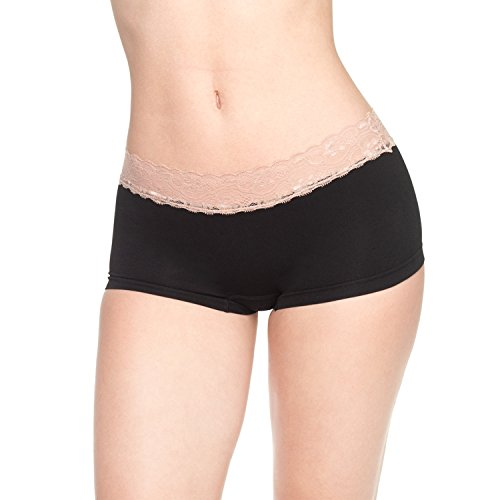 -Pack Boyshort Panties Nylon Spandex Stretch Boxer Briefs Underwear Multicolor(Black/Grey/Pink) Size M (Lace Band Nylon Brief)