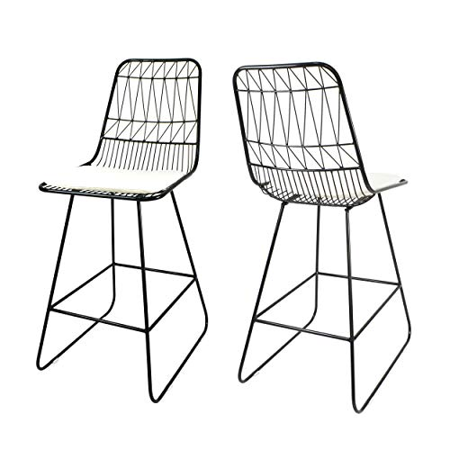 "Christopher Knight Home 307604 Lilith Counter Stools, 26"" Seats, Modern, Geometric, Black Iron Frames with Ivory Cushion (Set of 2),"