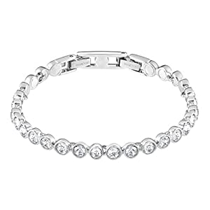 SWAROVSKI Women's Attract Earrings, Necklace & Tennis Bracelet, Rhodium Finish, White Crystal Jewelry Collection