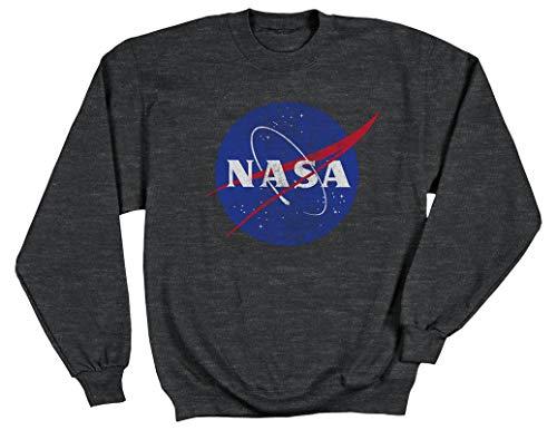 Ripple Junction NASA Distressed Meatball Logo Adult Sweatshirt Small Heather Charcoal