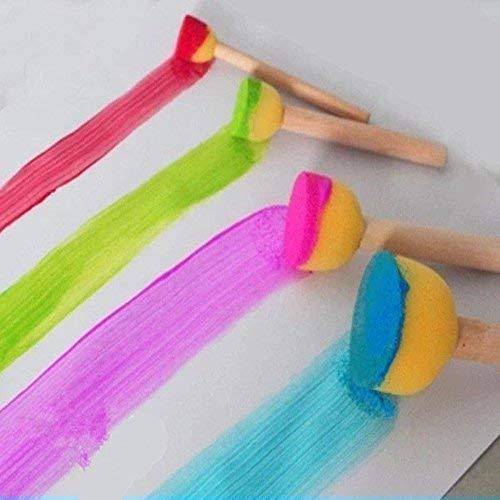 Qiao Niuniu 4枚セット子供の早期教育のおもちゃ木製ハンドルスポンジフォームの塗装顔料ブラシ水水彩油のアクリルペイントブラシセット