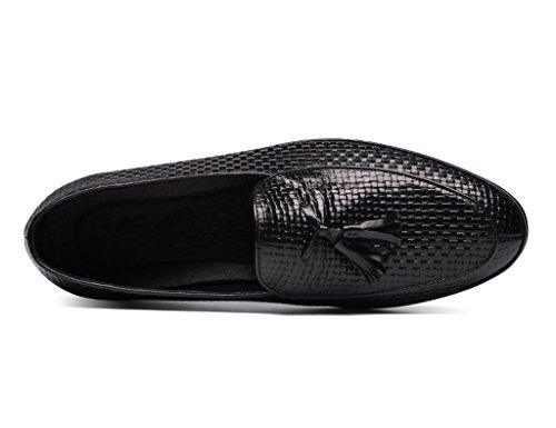 HWF Scarpe Uomo in Pelle Primavera scarpe da uomo in pelle scarpe casual nappa stile britannico lettino (Colore : Marrone, dimensioni : EU44/UK8.5) Nero