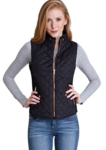 Quilted Effect (Ladies Black Quilted Padded Zipper)