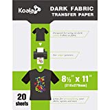 Koala 20 Sheets Dark T-shirt Transfer for Dark Color Fabric 8.5''X11''Compatible with Inkjet Printer