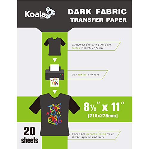 Koala 20 Sheets Dark T-shirt Transfer for Dark Color Fabric 8.5 X11 Inches Compatible with Inkjet Printer