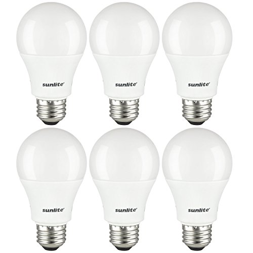 Sunlite A19/LED/10W/65K/6PK Led A19 Household 10W (60W Replacement) Light Bulbs, Medium (E26) Base, 6500K Daylight, 6 Pack,