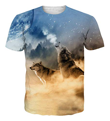 - NEWISTAR Teens 3D Desert Wolf Moon Short Sleeve T-Shirt Tees m