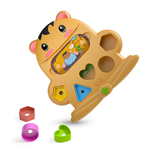 (TUMAMA Baby Blocks Shape Sorter Toys for 3 6 9 12 18 Months, 5 Colors Recognition Shape Toys and 5 Story Cards ,Infant Toys Gift for Boys and Girls,Original Cute Animal Design)